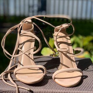 Aldo heels pink / beige with straps size 10